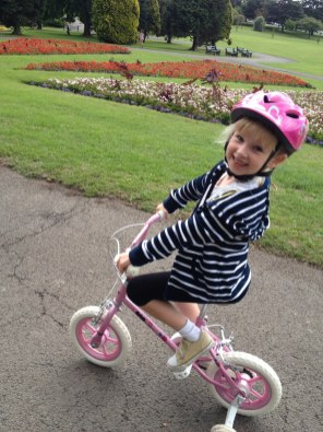 Bean learned to ride her bike