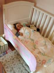 We took the sides off her cot