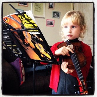 Started to learn her first musical instrument