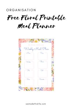 Free Floral Printable Meal Planner