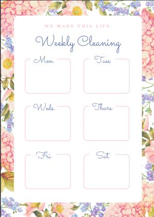 Weekly Cleaning Plan WMTL