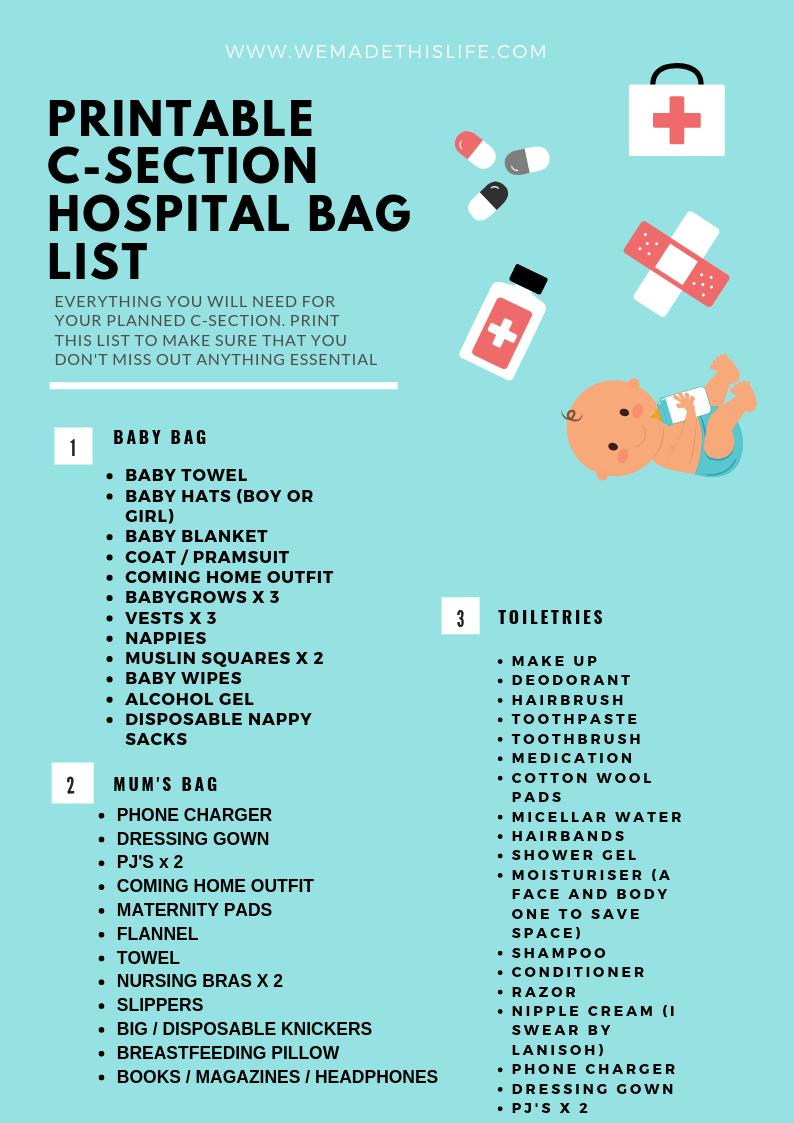 free printable c section hospital bag list