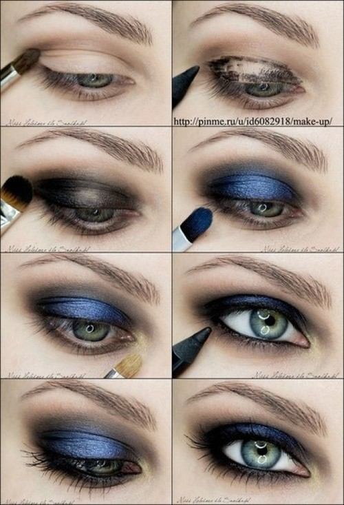 Blue Green Eyes Makeup Metallic Blue Navy Smokey Eye Makeup Photo Tutorial 1754083