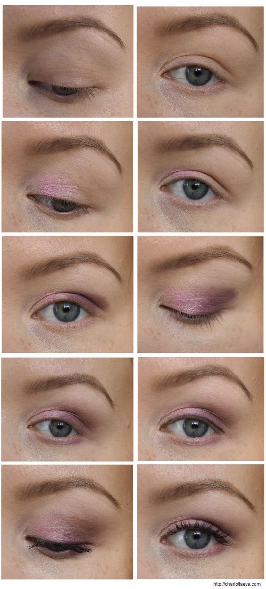 Brown And Purple Eye Makeup Easy Eyeshadow Tutorial Purple And Light Pink Charlotta Eve