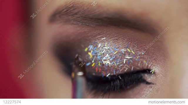 Eye Makeup Evening Glitter Are Applied To The Womans Eyelid Making Of The Evening