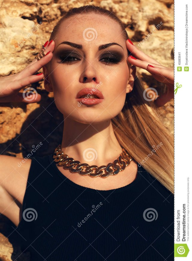 Eye Makeup For Black Dress Portrait Of Girl With Blond Hair With Evening Makeup Stock Image