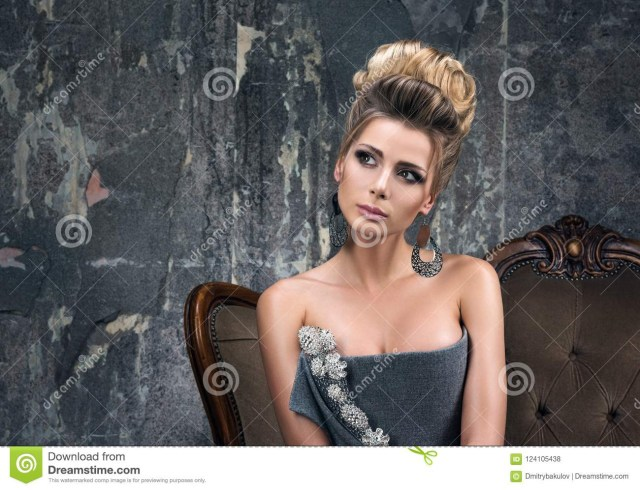 Eye Makeup With Grey Dress Portrait Of Beautiful Young Woman With The Dreamy Eyes Evening