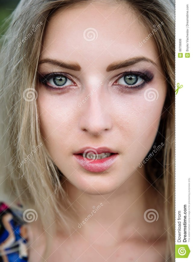 Eye Makeup With Turquoise Dress Beautiful Dreamy Blonde Girl With Blue Eyes In A Light Turquoise