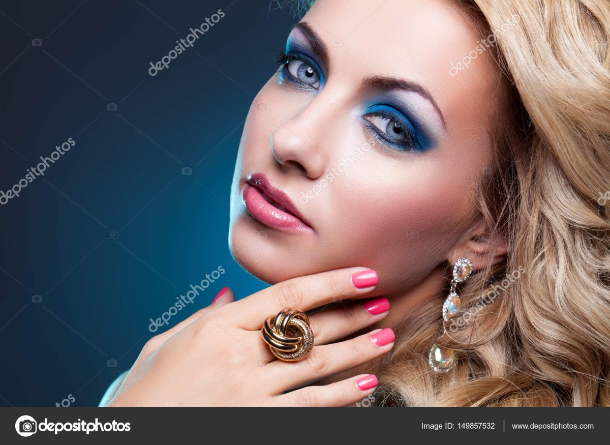 Eye Makeup With Turquoise Dress Beautiful Girl In Blue Dress Stock Photo Svetography 149857532