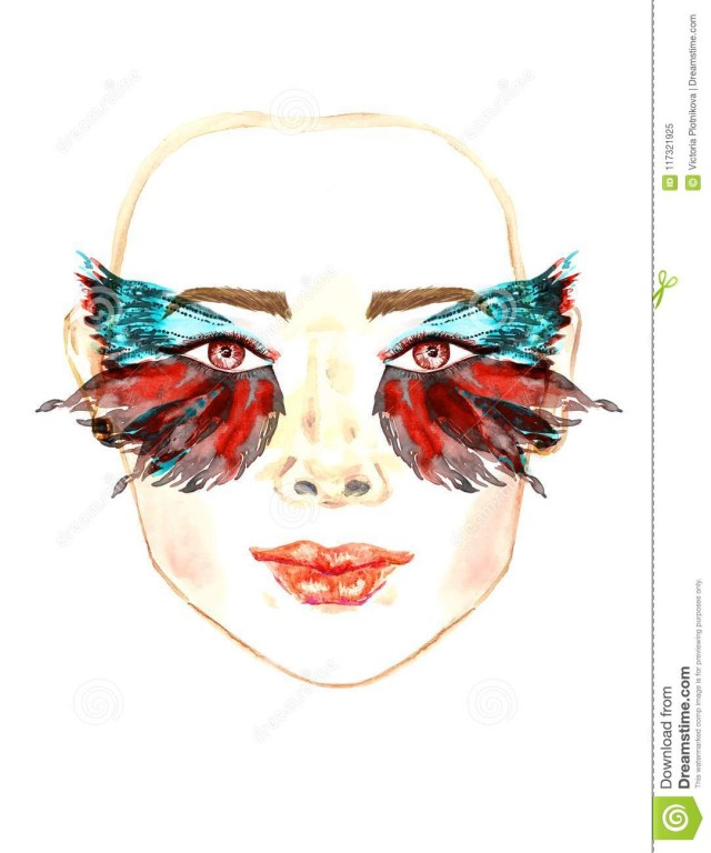 Fairy Eye Makeup Face With Red Fairy Eyes With Makeup Red And Green Turquoise Wings