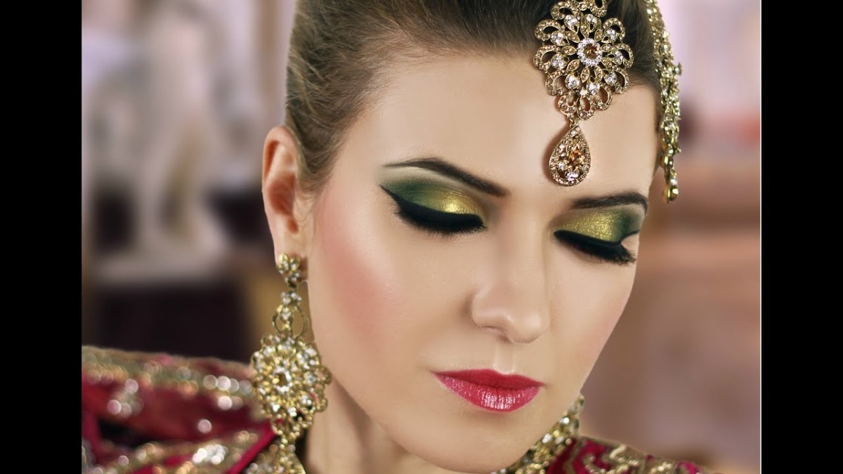 Gold Makeup For Green Eyes Gold And Green Smokey Eye Bridal Makeup Tutorial Asian Indian