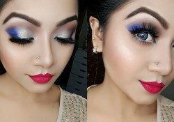 Party Makeup For Blue Eyes Electric Blue And Gold Eye Makeup Tutorial Nye Party Makeup