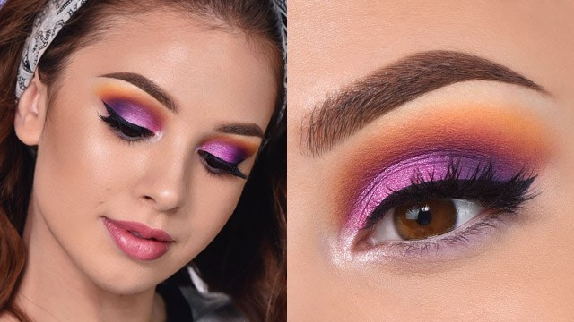 Summer Eye Makeup Fun Colorful Summer Makeup Tutorial Orange Purple And Pink