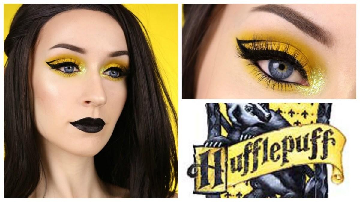 Yellow And Black Eye Makeup Hufflepuff Makeup Tutorial Neon Yellow Black Youtube