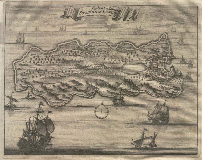 Antique Engraved Map of Kos by Olfert Dapper 1702