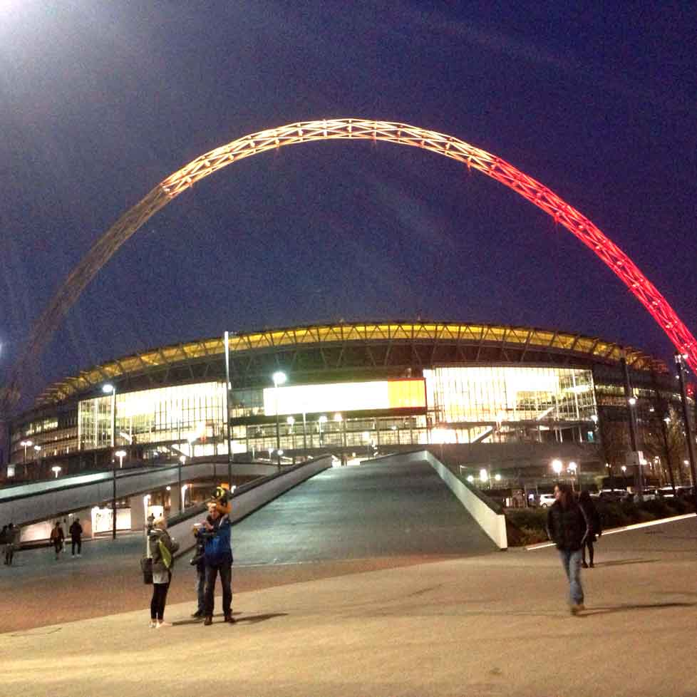 Wembley Stadium's arch lights up for Brussels