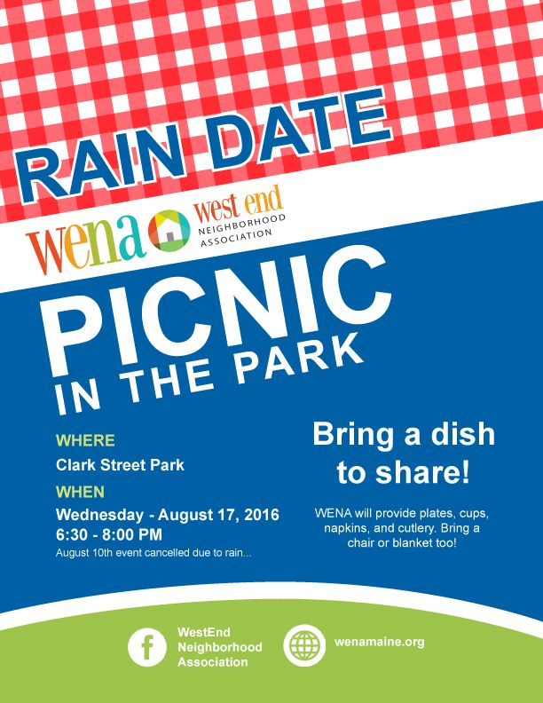 RAIN DATE: WENA Picnic in the Park Aug 17 @ 6:30 pm – 8:00 pm