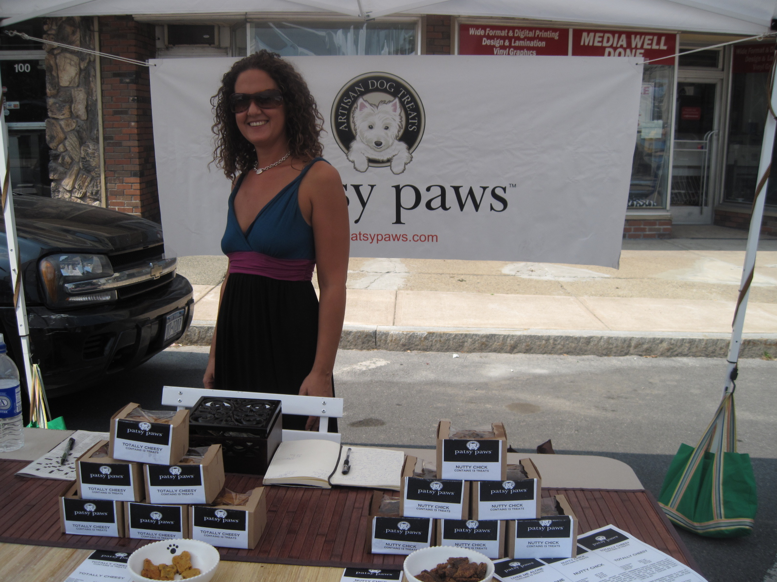 Patsy Paws owner Elizabeth poses with her delicious pet treats!