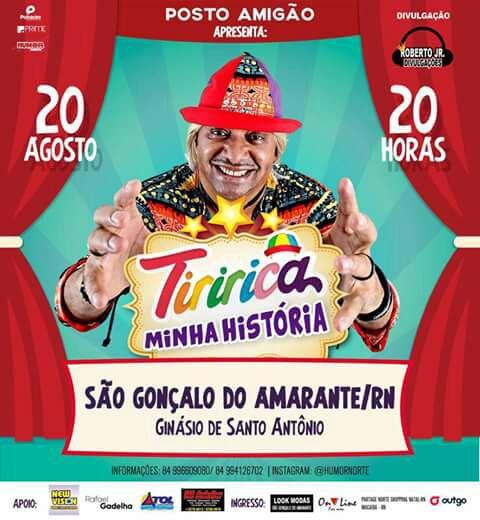 Humorista Tiririca estará em São Gonçalo neste domingo, dia 20