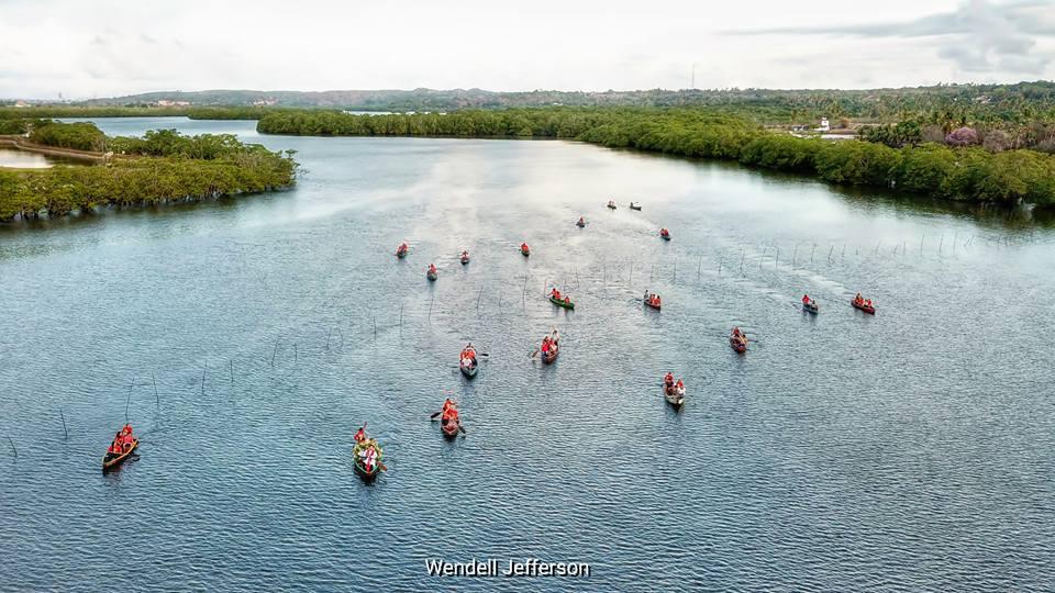 Drone registra procissão fluvial no Rio Potengi
