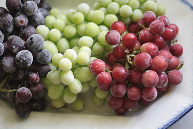 Red white blue sugared frozen grapes