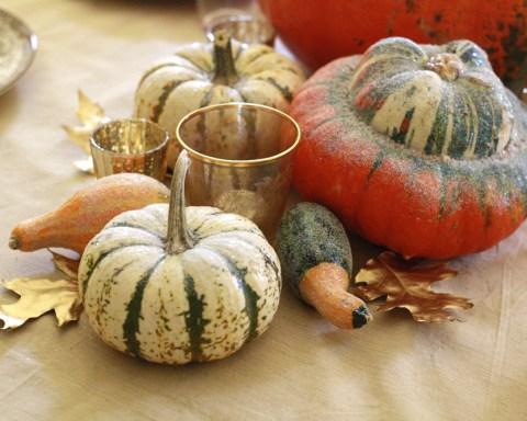 Thanksgiving Decorations Glitter Gourds