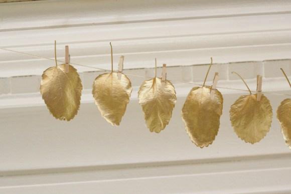 Thanksgiving Mantle Gold Leaf Garland
