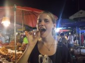 Trying grasshoppers for the first time (they were really good!)