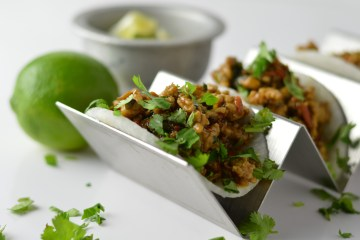 Jicama Street Tacos garnished with lime and cilantro