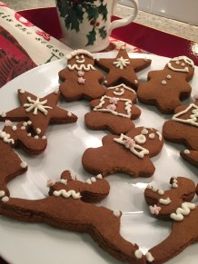 Closeup of decorated gingerbread cookies in a Christmas scene
