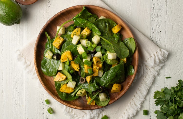 Overhead view of Southwest Spinach Salad (AIP/Paleo)