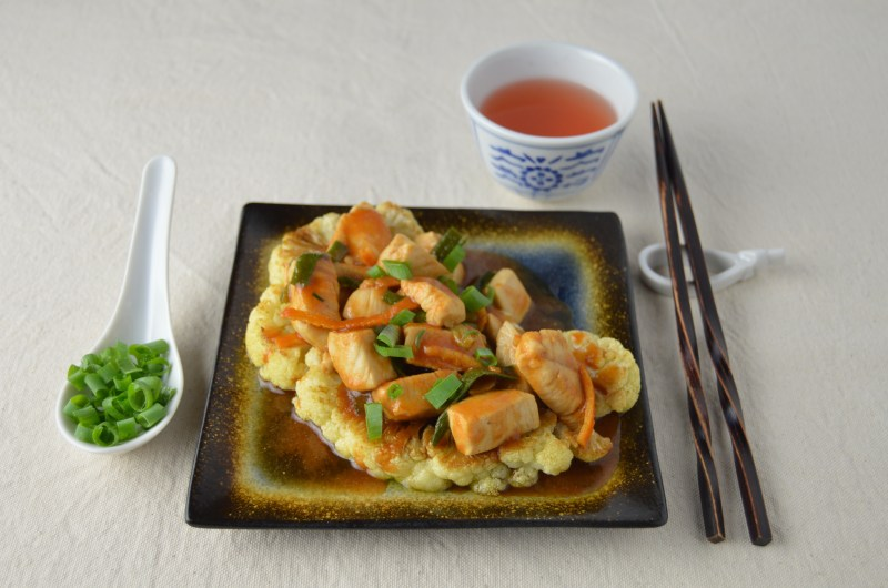 Orange Peel Chicken over Cauliflower Steaks