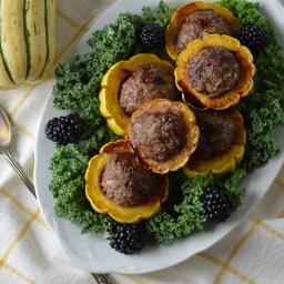 Lamb-stuffed Delicata w/Blackberry Balsamic Drizzle