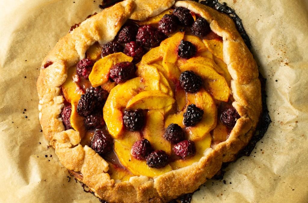 Blackberry Peach Galette Flatlay