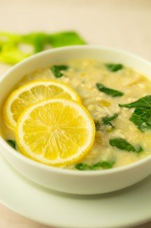 Closeup of Creamy Lemon Chicken Soup
