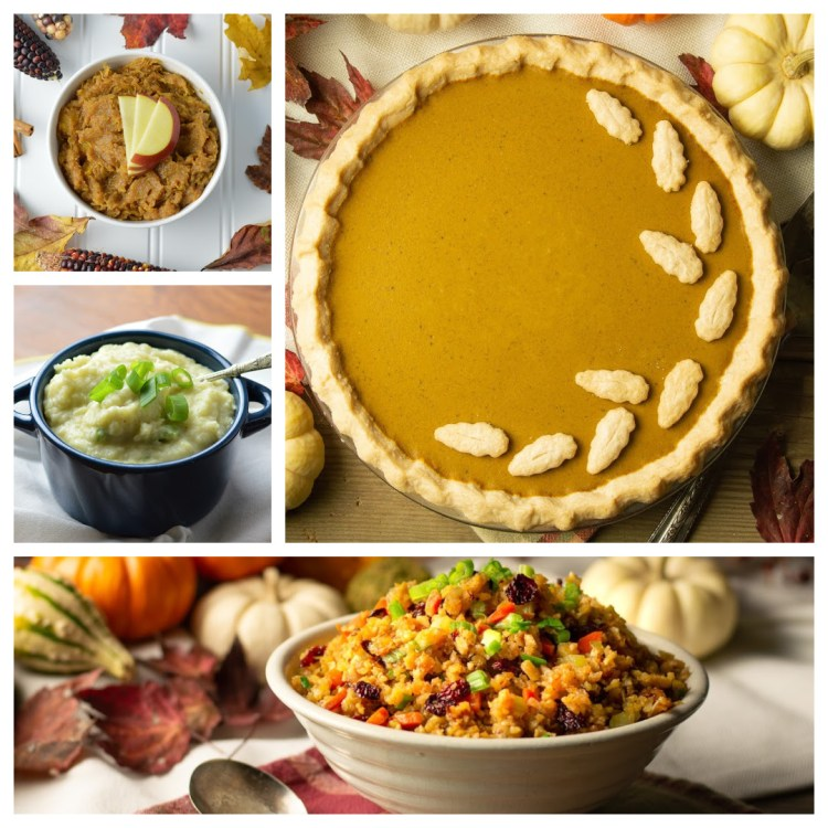 A collage of Thanksgiving recipes for Everything But The Bird (Paleo/AIP), including pumpkin pie, mashed white sweet potatoes, holiday dressing, and mashed apple acorn squash