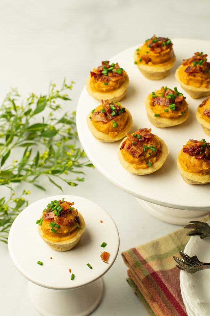 Overhead view of Sweet Potato Bites w/Candied Bacon