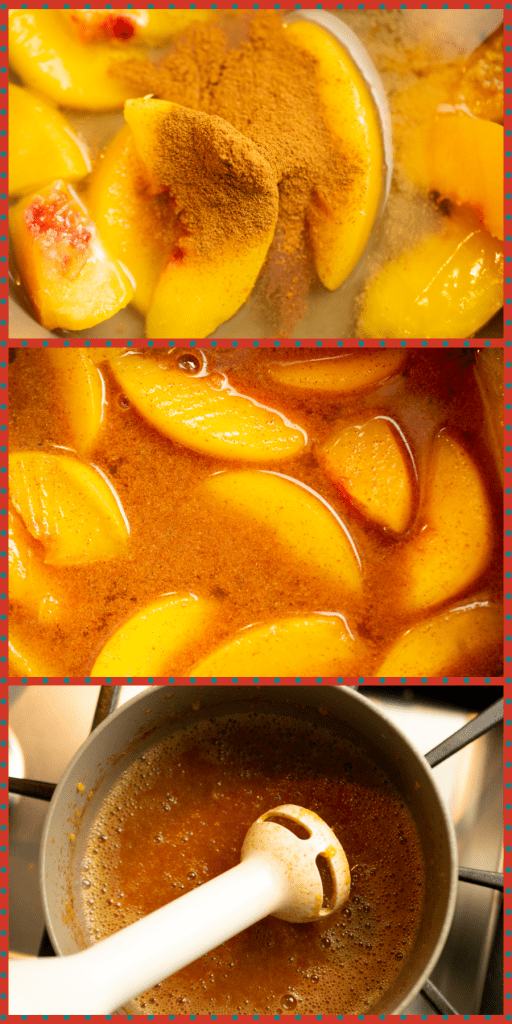 Process photo collage of Peach-glazed Chicken, pureeing in the pan with an immersion blender
