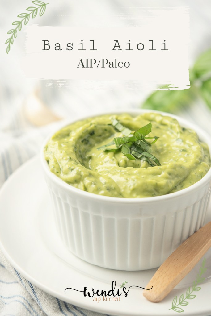 This is a closeup image of basil aioli used as a pin for Pinterest.