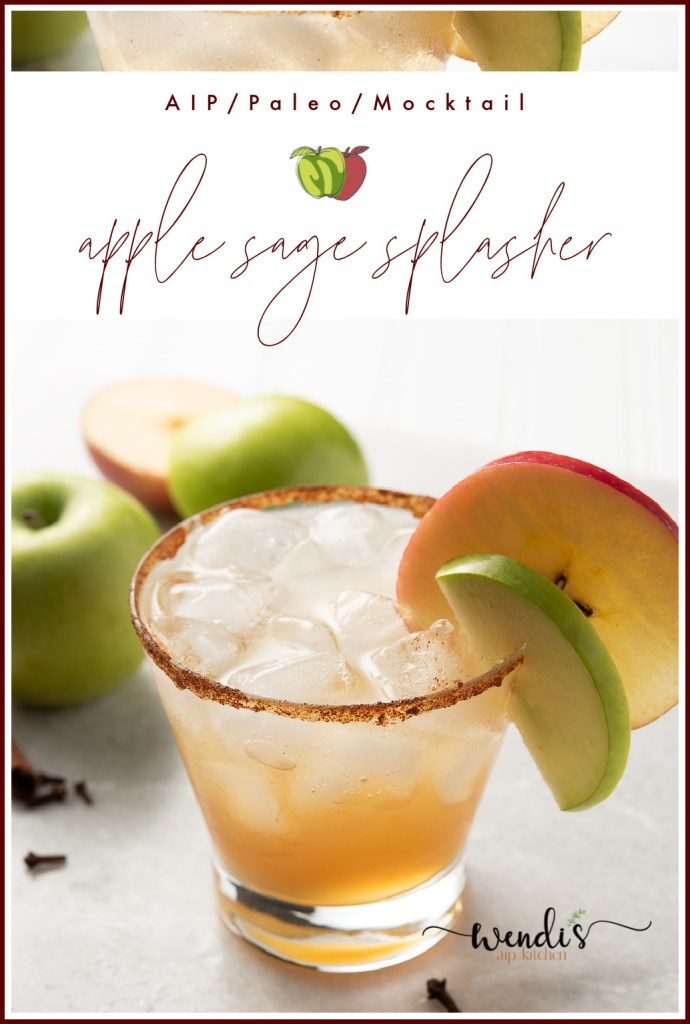 This is a Pinterest pin for Apple Sage Splasher Mocktail