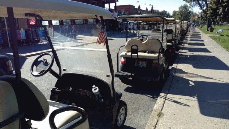 line-of-golf-carts
