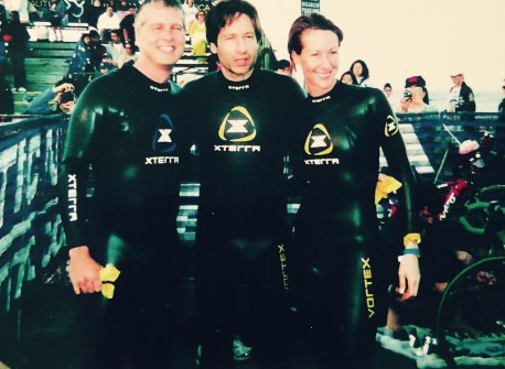 Patrick Fabian, David Duchovy, Wendy Braun - Celebrity Division- Malibu Triathlon