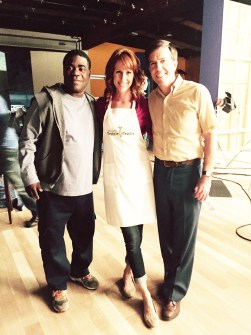 Tracy Morgan, Wendy Braun + Ed Helms on the set of The Clapper Movie
