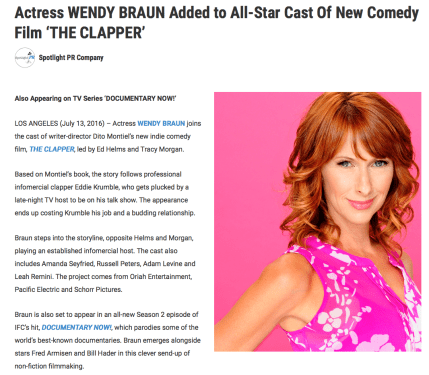 """Wendy Braun Added To All-Star Cast Of New Comedy Film ""The Clapper"""