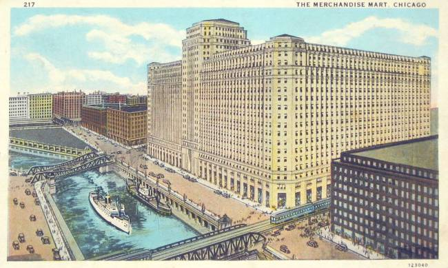 postcard-chicago-merchandise-mart-chicago-river-ships-elevated-train-1933