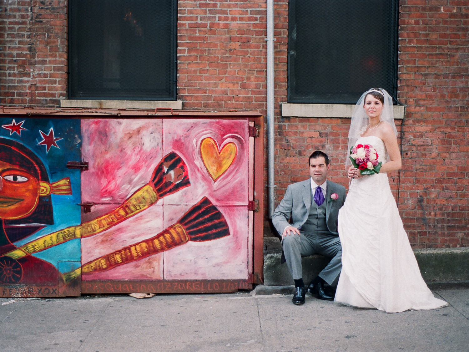UK Bride in NYC graffiti