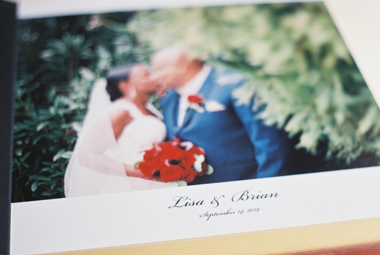 top wedding photo album by Leather Craftsmen opening spread