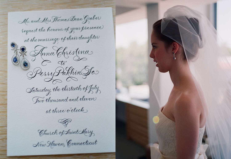 yale wedding bride wearing vera wang gown