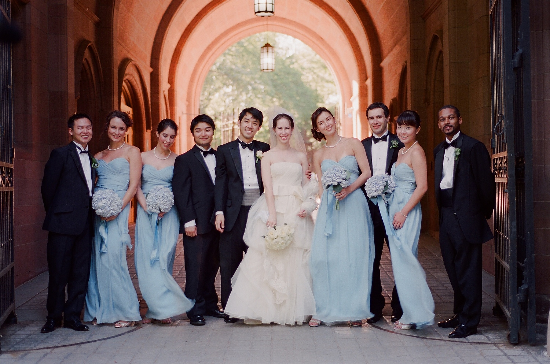 yale wedding bridal party portraits
