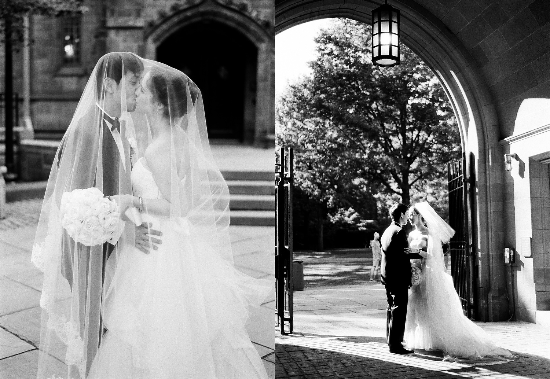 yale wedding couple portrait kissing on campus